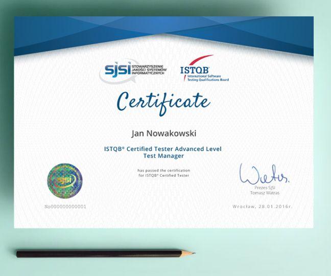 wzór certyfikatu ISTQB poziom zaawansowany Kierownik Testów - angielska wersja językowa